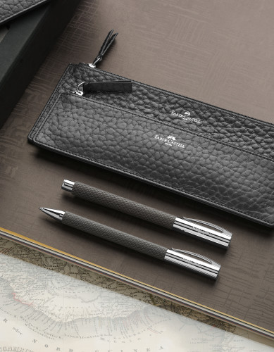 Faber-Castell AMBITION Edelharz Sand black Kugelschreiber
