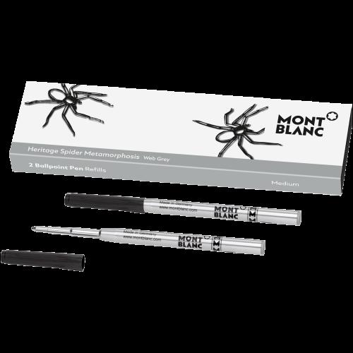 2 Montblanc Kugelschreiberminen (M), Heritage Spider, grau